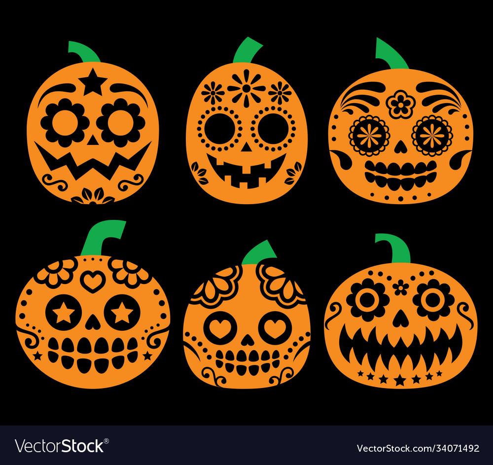Halloween pumpkin mexican sugar skull