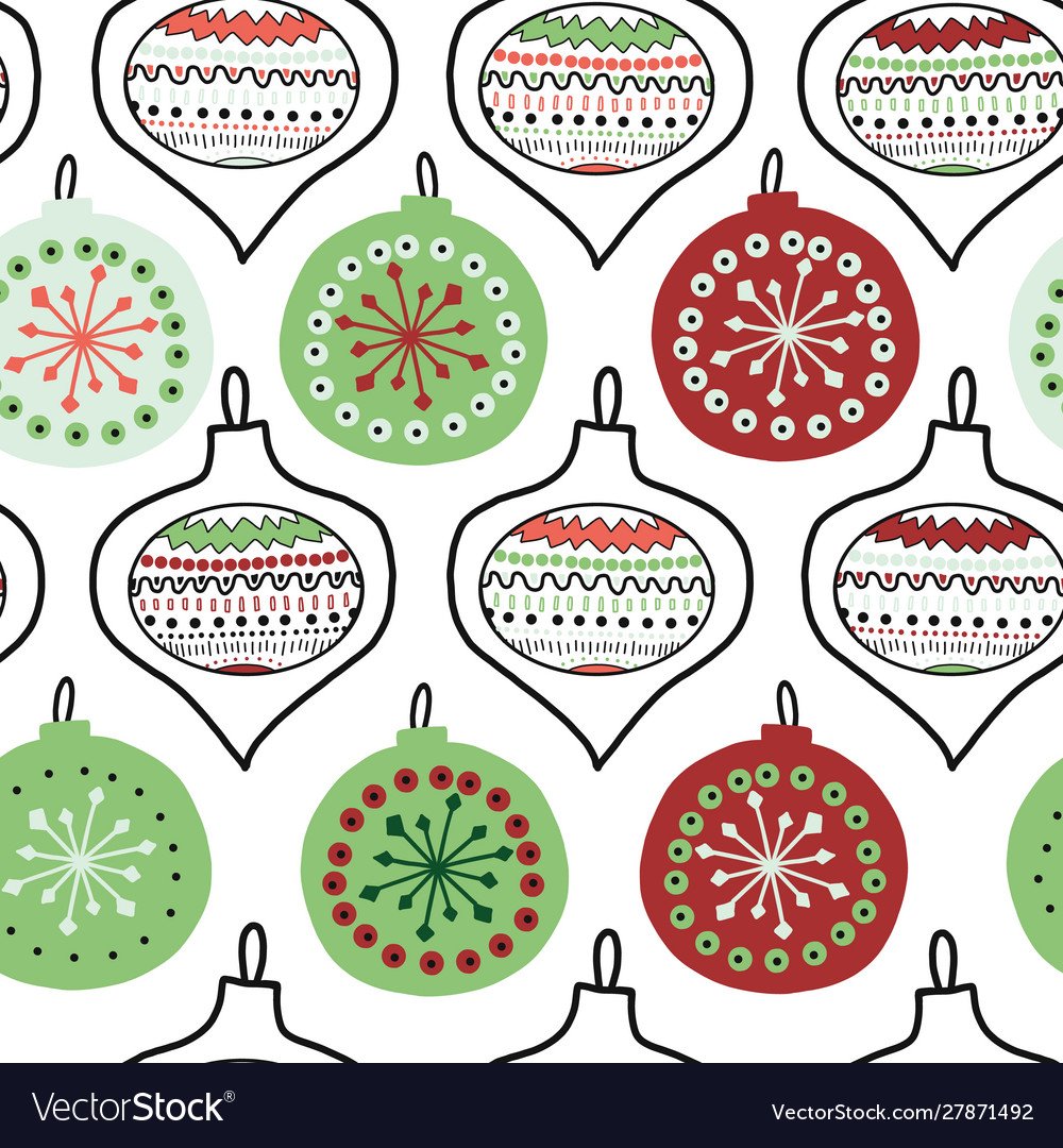 Hand drawn doodle christmas tree ornaments