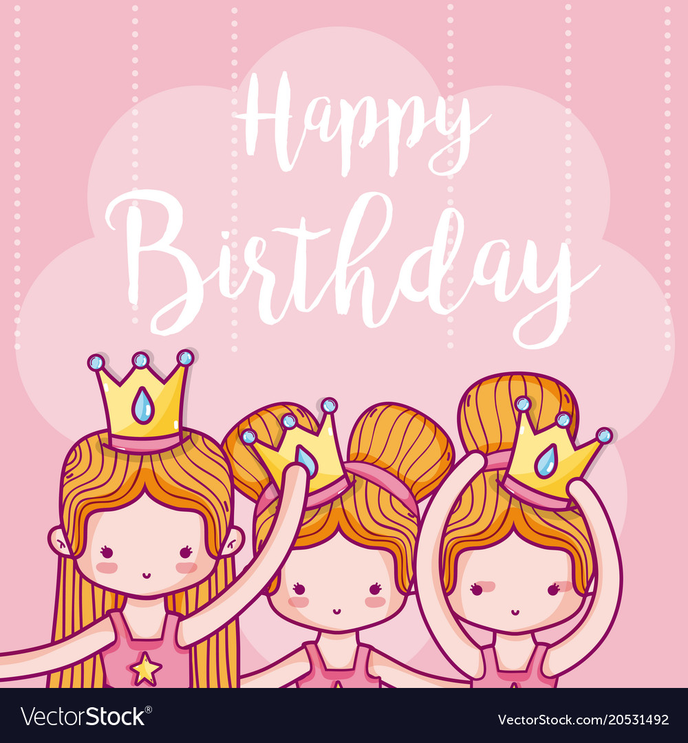 Happy Birthday Card With Girls Ballet Dancers Vector Image