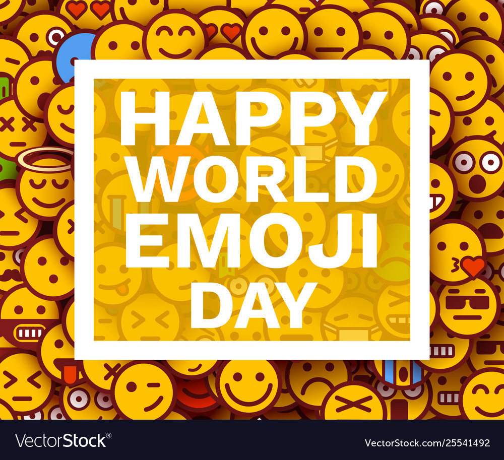 Happy world emoji day greeting card or banner