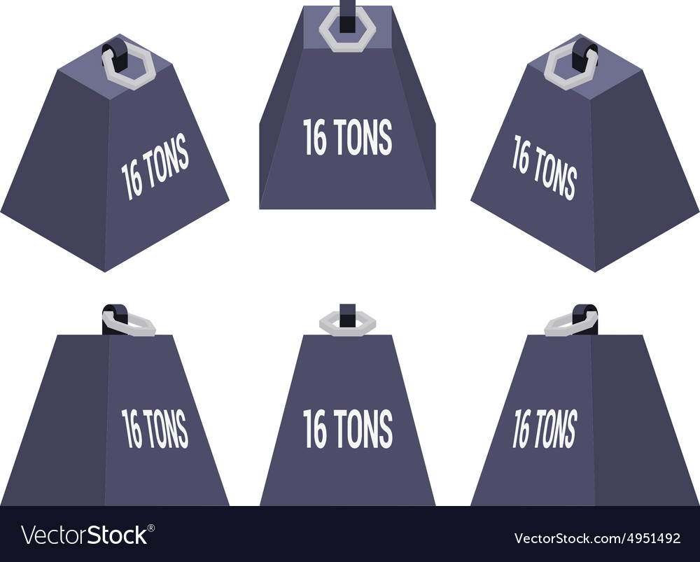Isometric 16 tons weight vector image