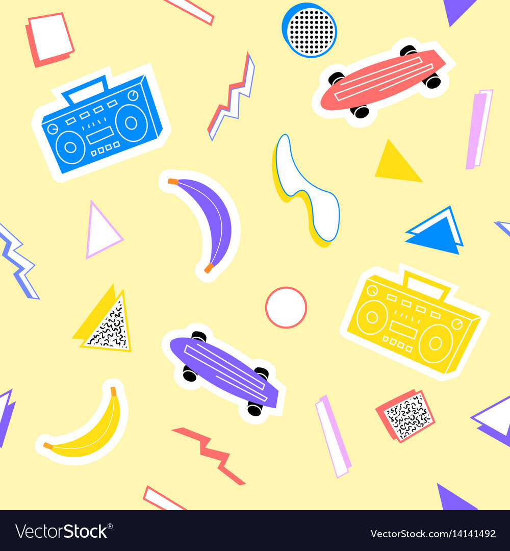 Memphis pattern with geometry skateboard recorder vector image