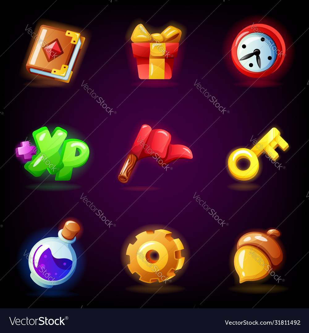 Mobile game icons set isolated on dark background