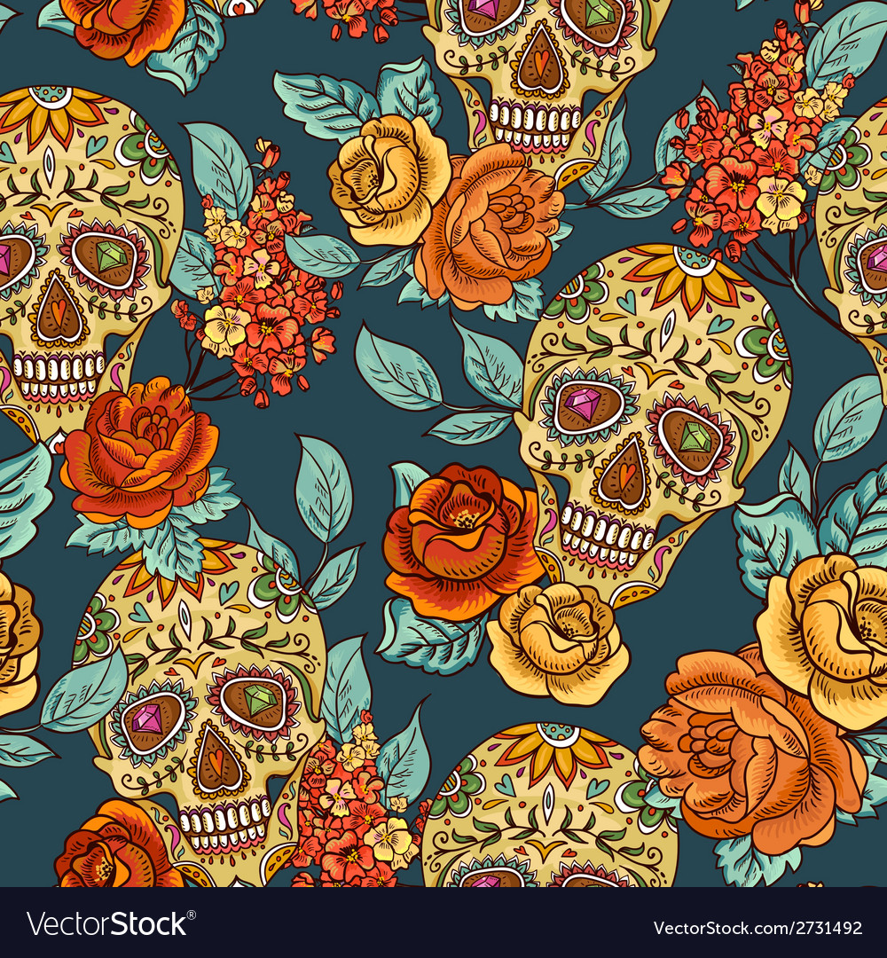 Skull diamond and Flowers Seamless Background