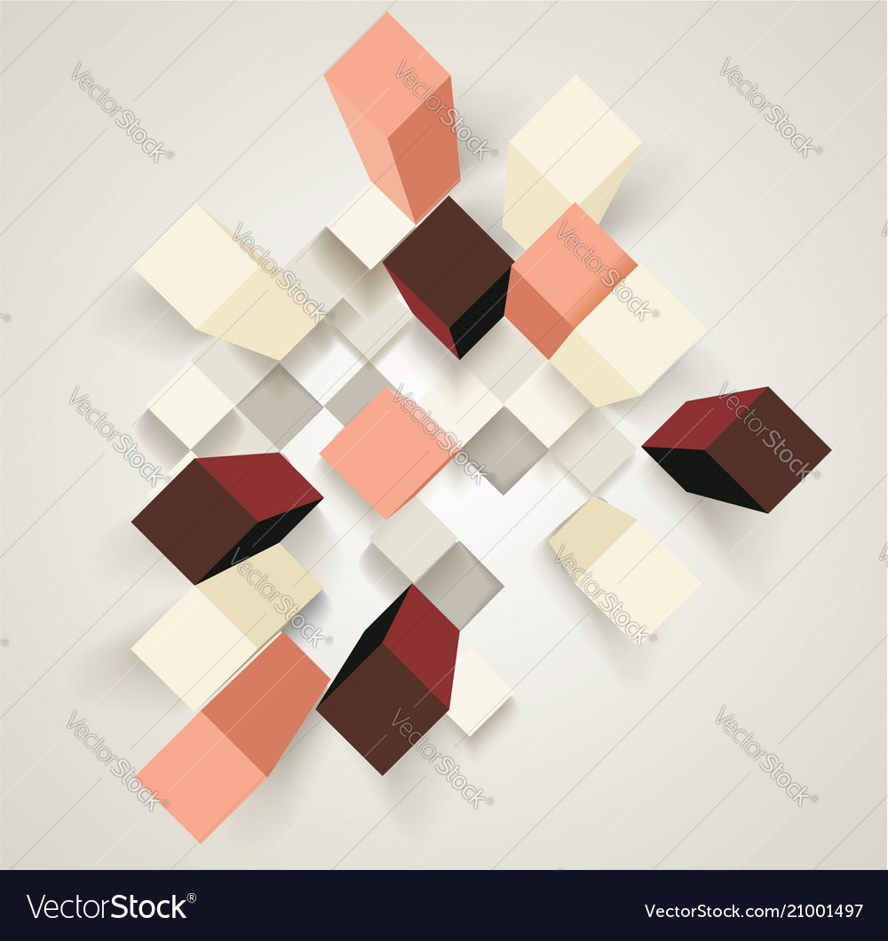 Abstract background with 3d cubes and rhombus