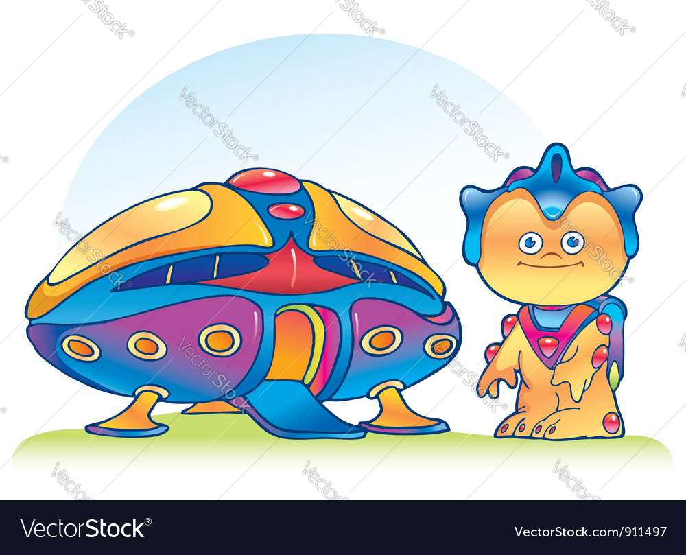 Alien and spaceship vector image