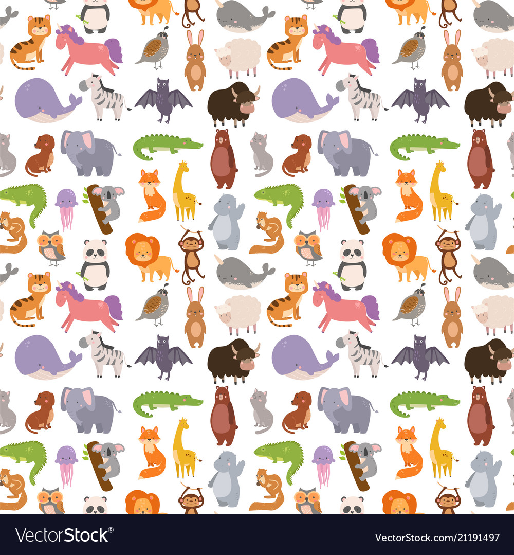 Animals cartoon wildlife nature seamless pattern