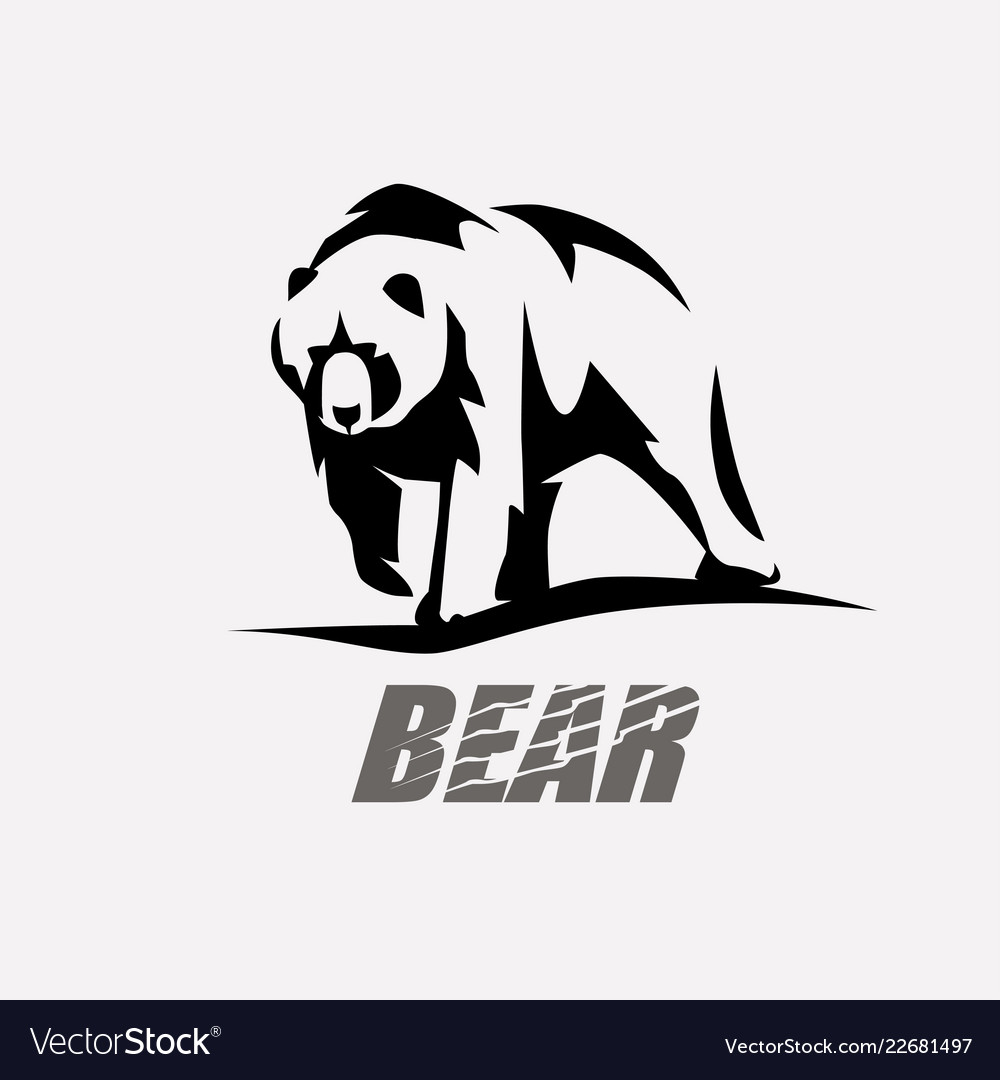 bear stylized silhouette logo template royalty free vector