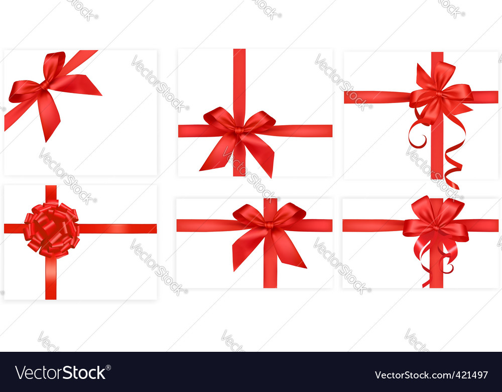 Big group with red bows vector image