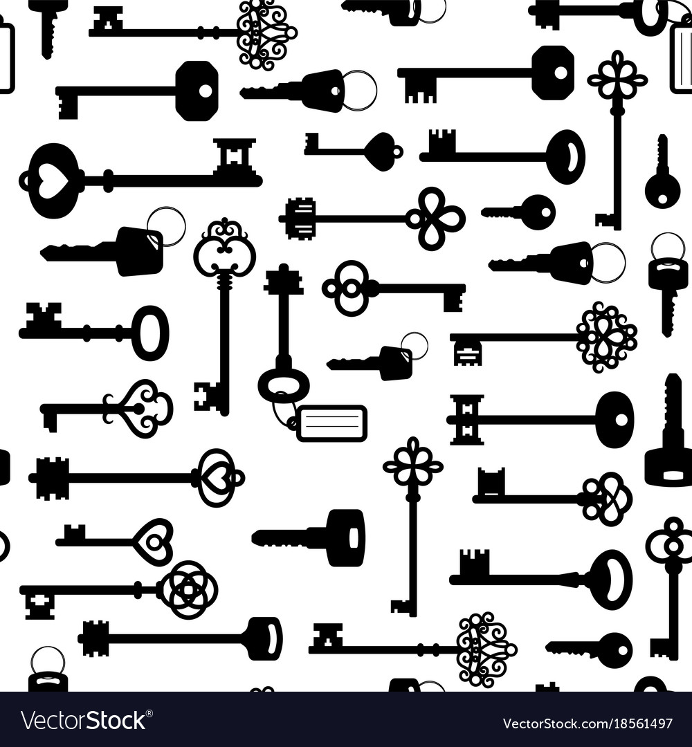 Black and white keys seamless pattern vector image