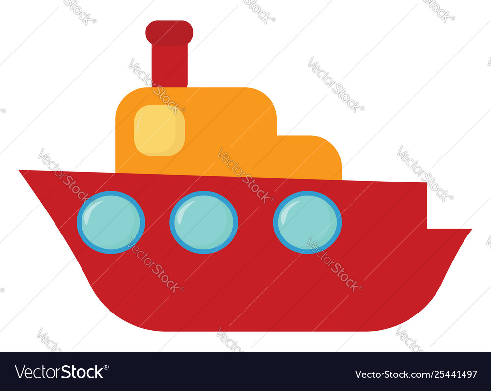 Clipart A Cute Brown Cruise Ship Set Isolated Vector Image