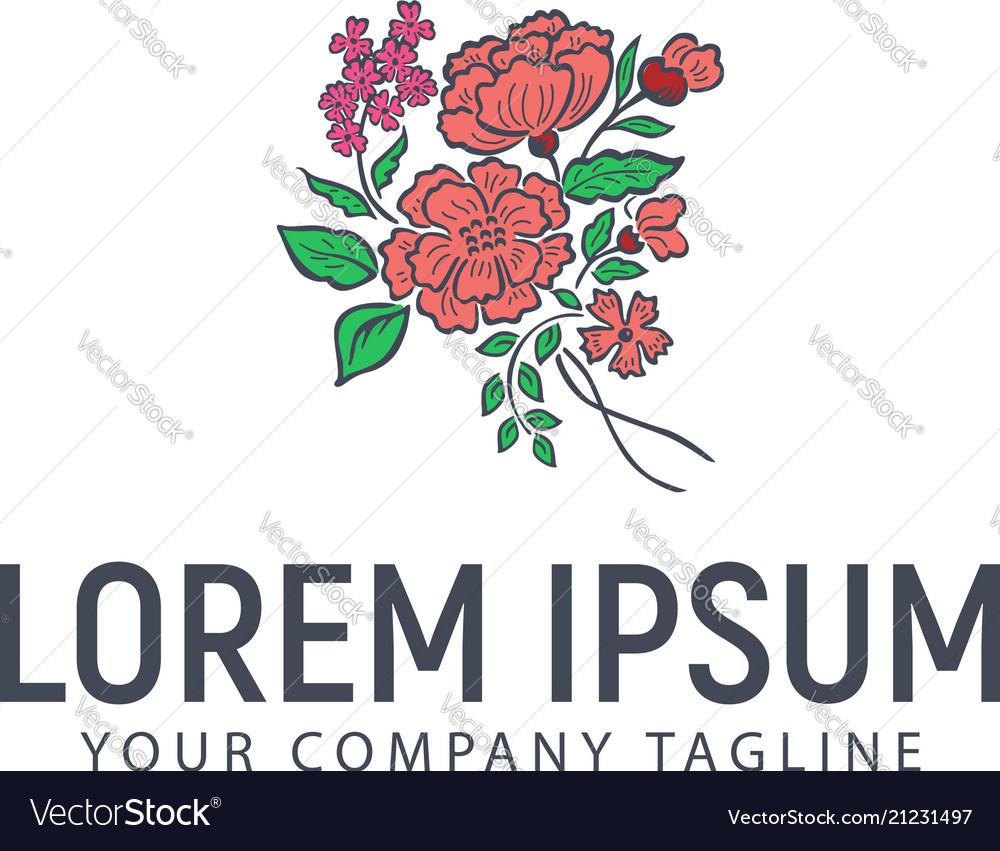 Flower hand drawn logo wedding design concept