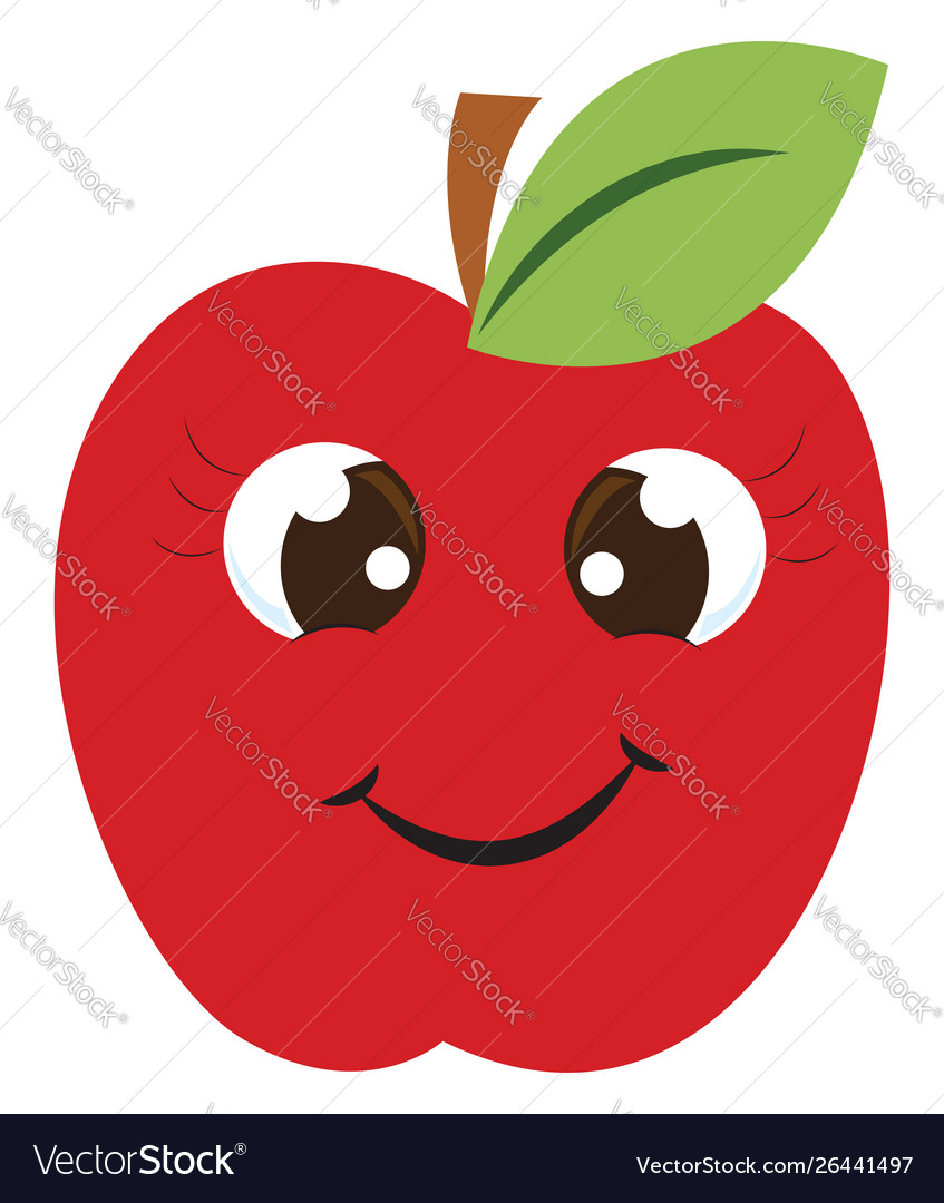 Happy red apple on white background