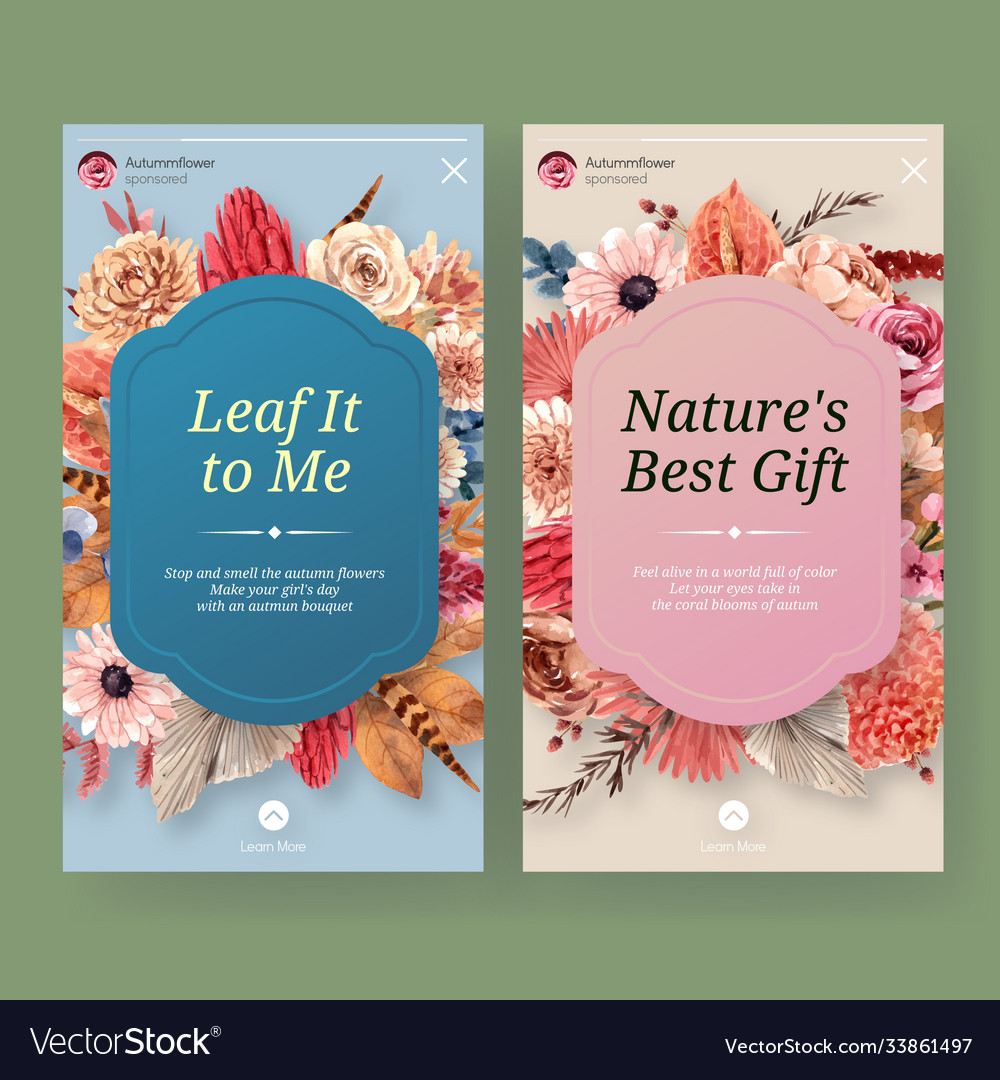 Instagram template with autumn flower concept