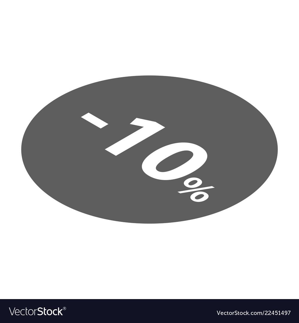 Minus 10 percent sale black emblem icon isometric