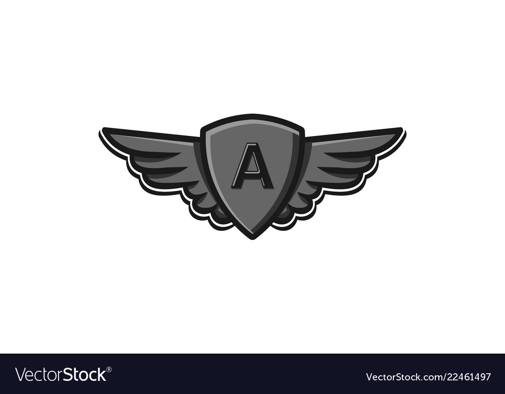 Modern professional wings and shield initial a