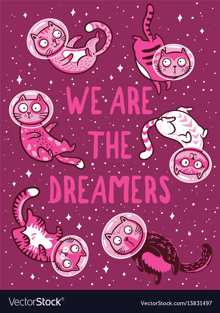 Print with cats in space we are the