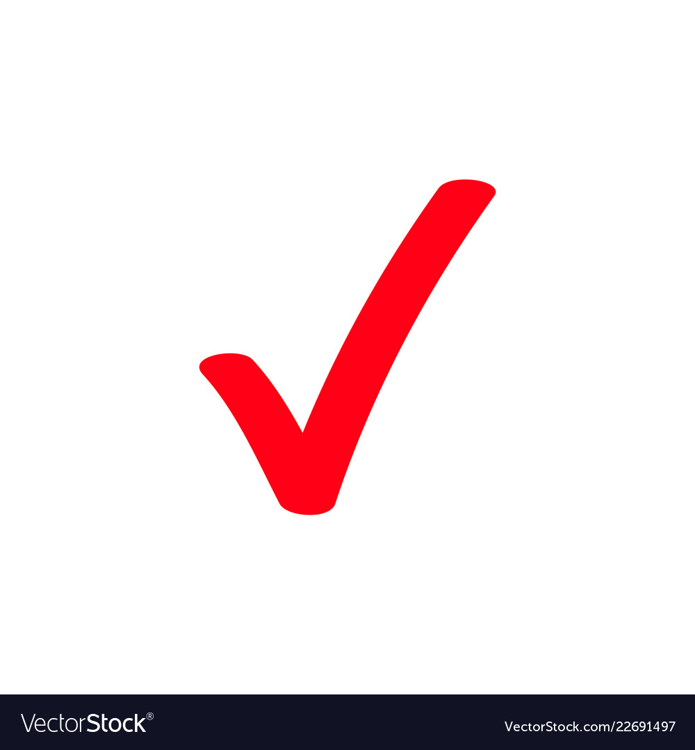 Red Tick Marker Checkmark Icon Royalty Free Vector Image
