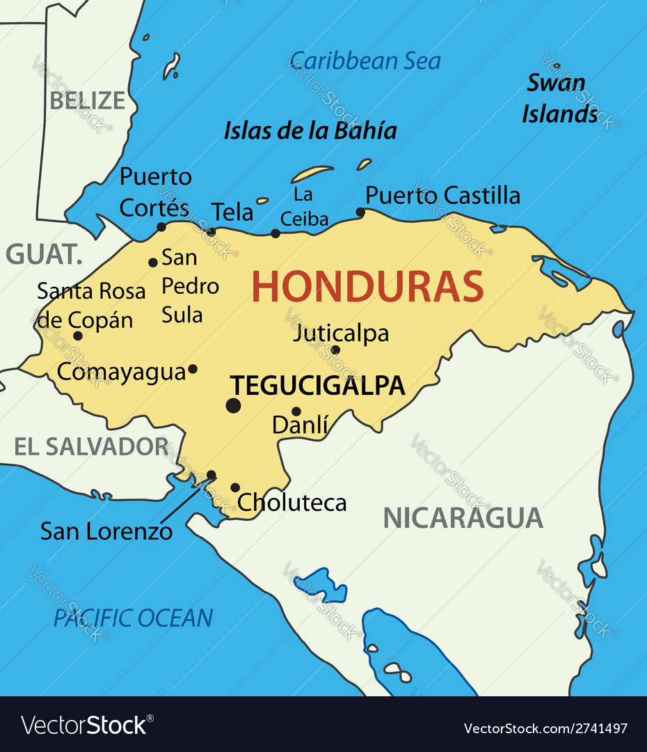 Republic Of Honduras   Map Vector Image