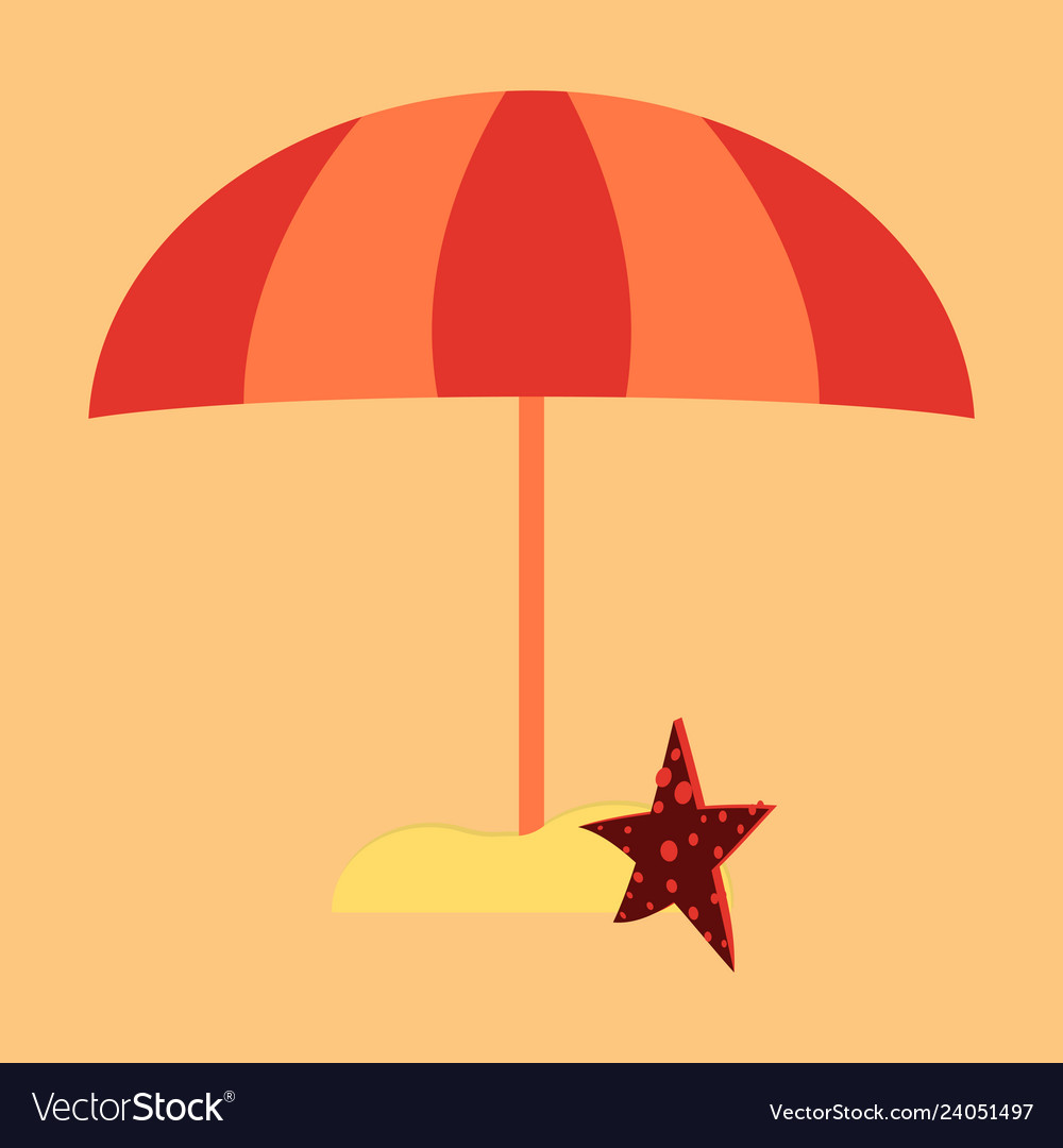 Summer card design with parasol bag starfish on vector image
