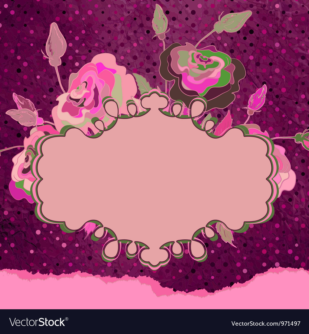 Vintage template with floral frame EPS 8 vector image