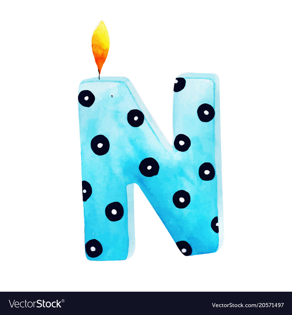 watercolor happy birthday letter n candle vector image