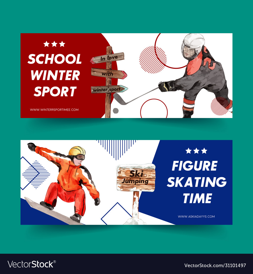 Winter sport banner design with hockey skate