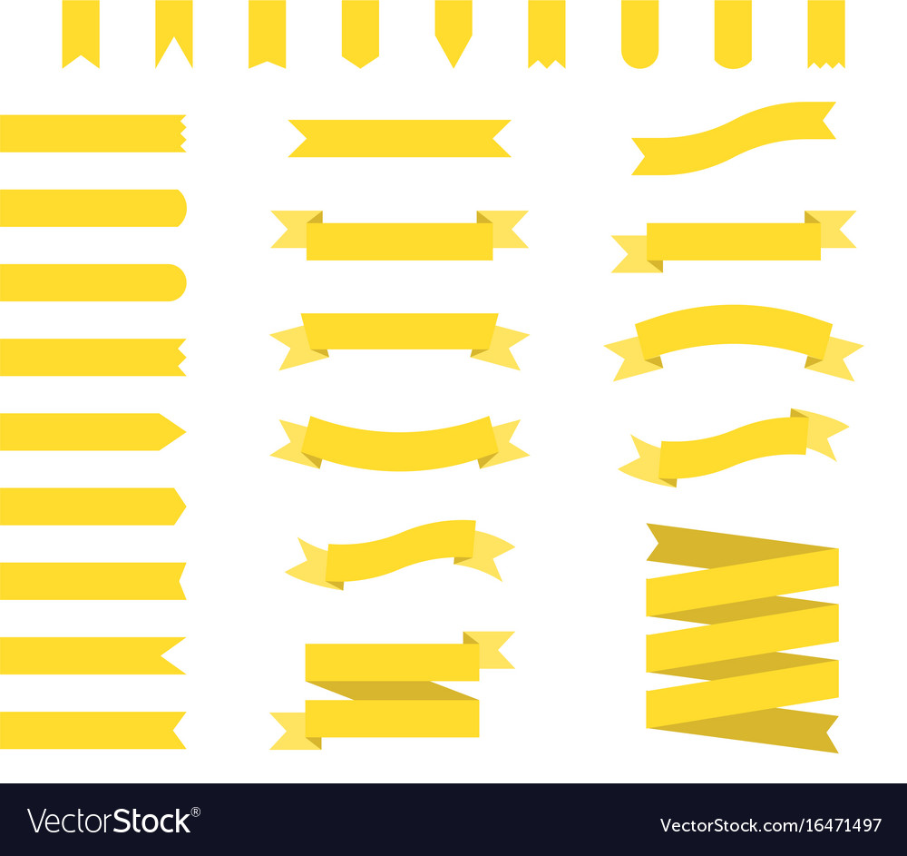 Yellow ribbons set ribbon banners flat