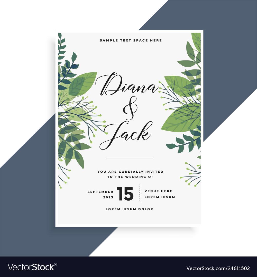 Beautiful Green Leaves Wedding Invitation Card