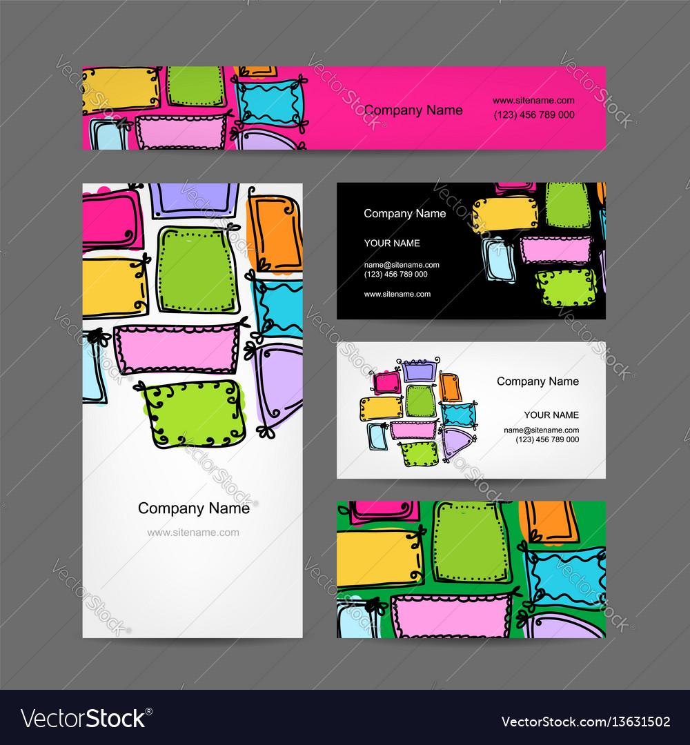 Business card collection vintage frames design