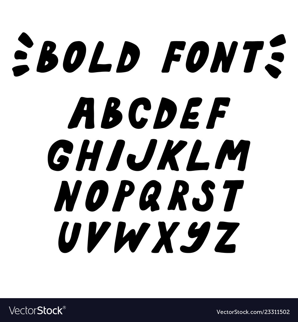 Hand drawn trendy bold font capital letters