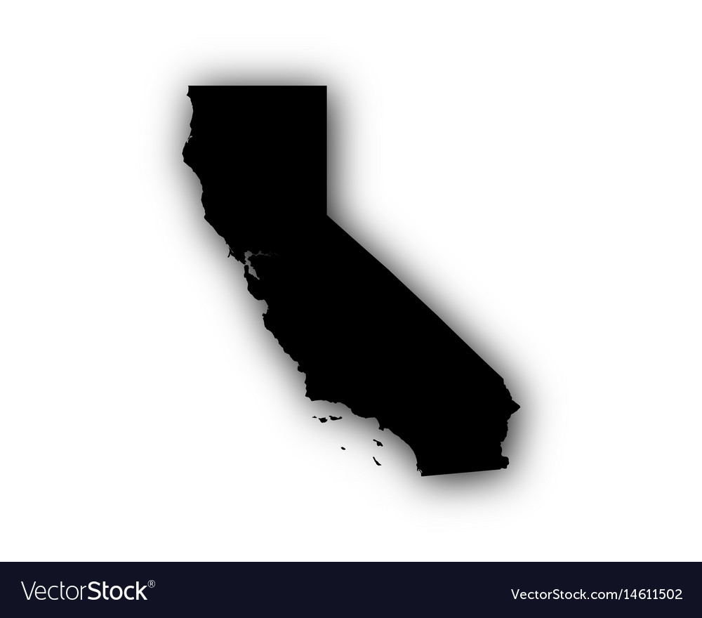 Map of california with shadow vector image