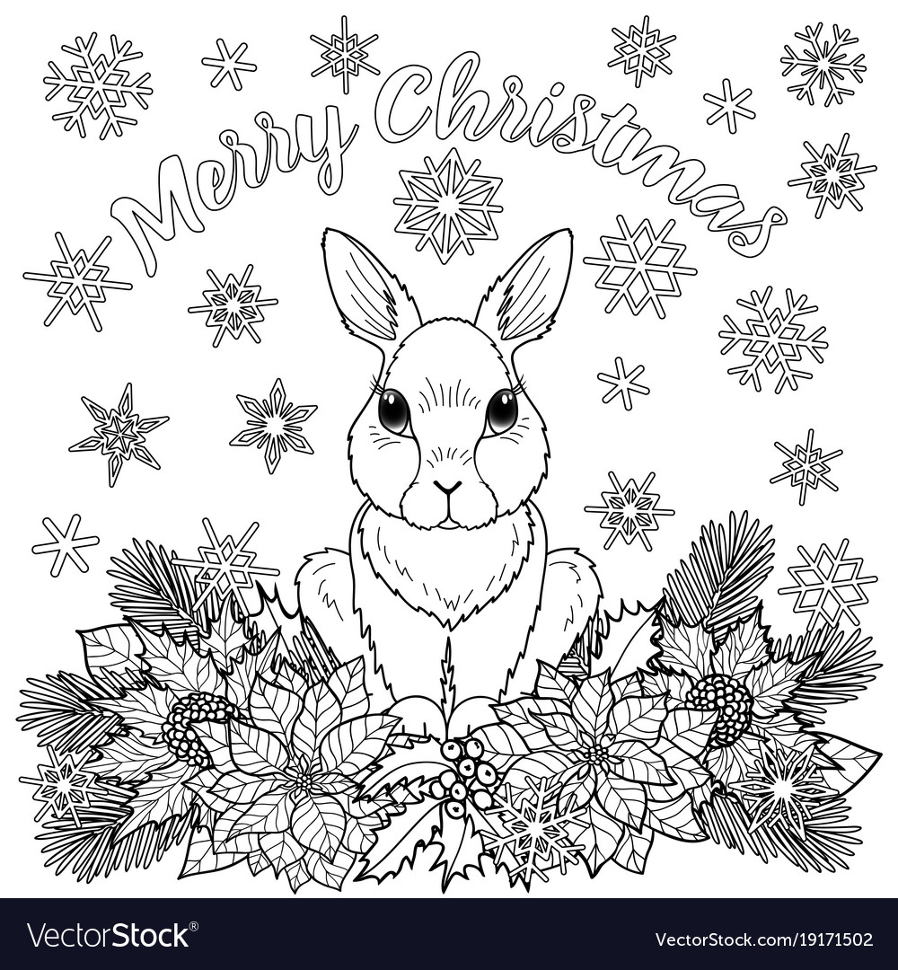 - Merry Christmas Coloring Page With Rabbit Vector Image