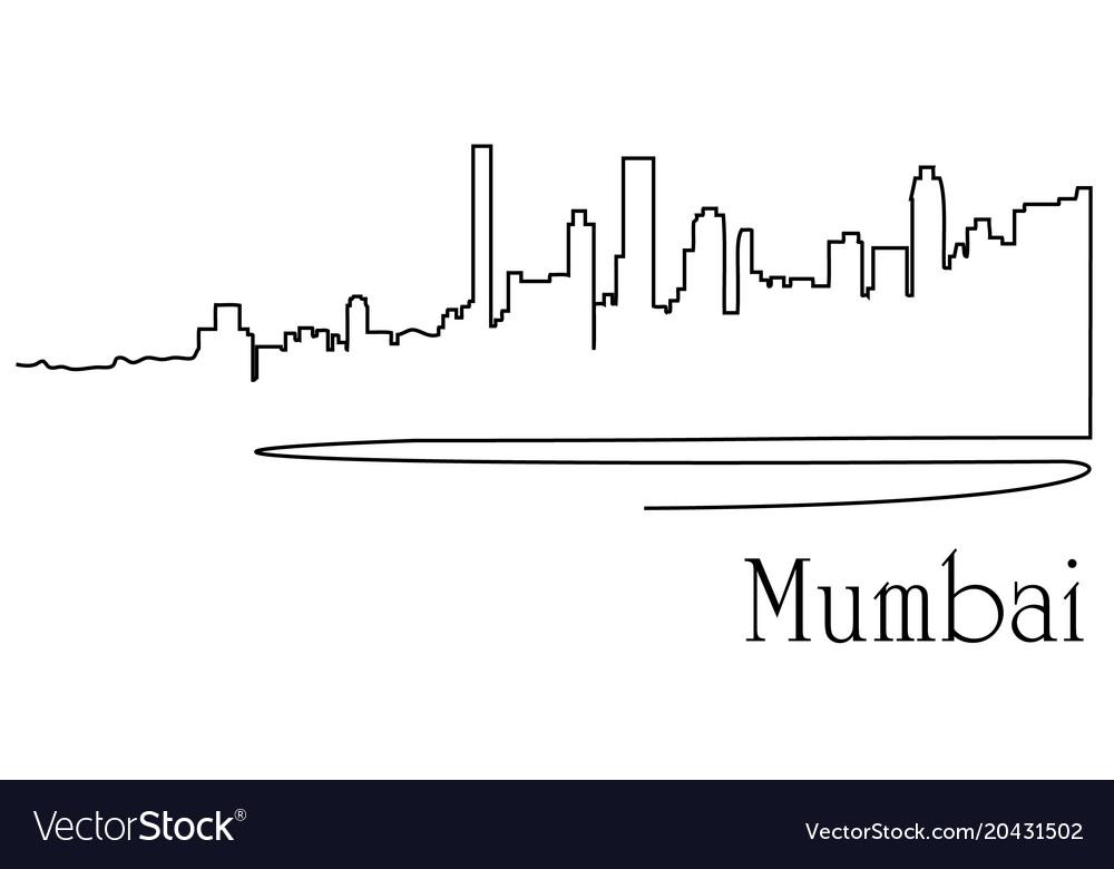 Mumbaj city one line drawing