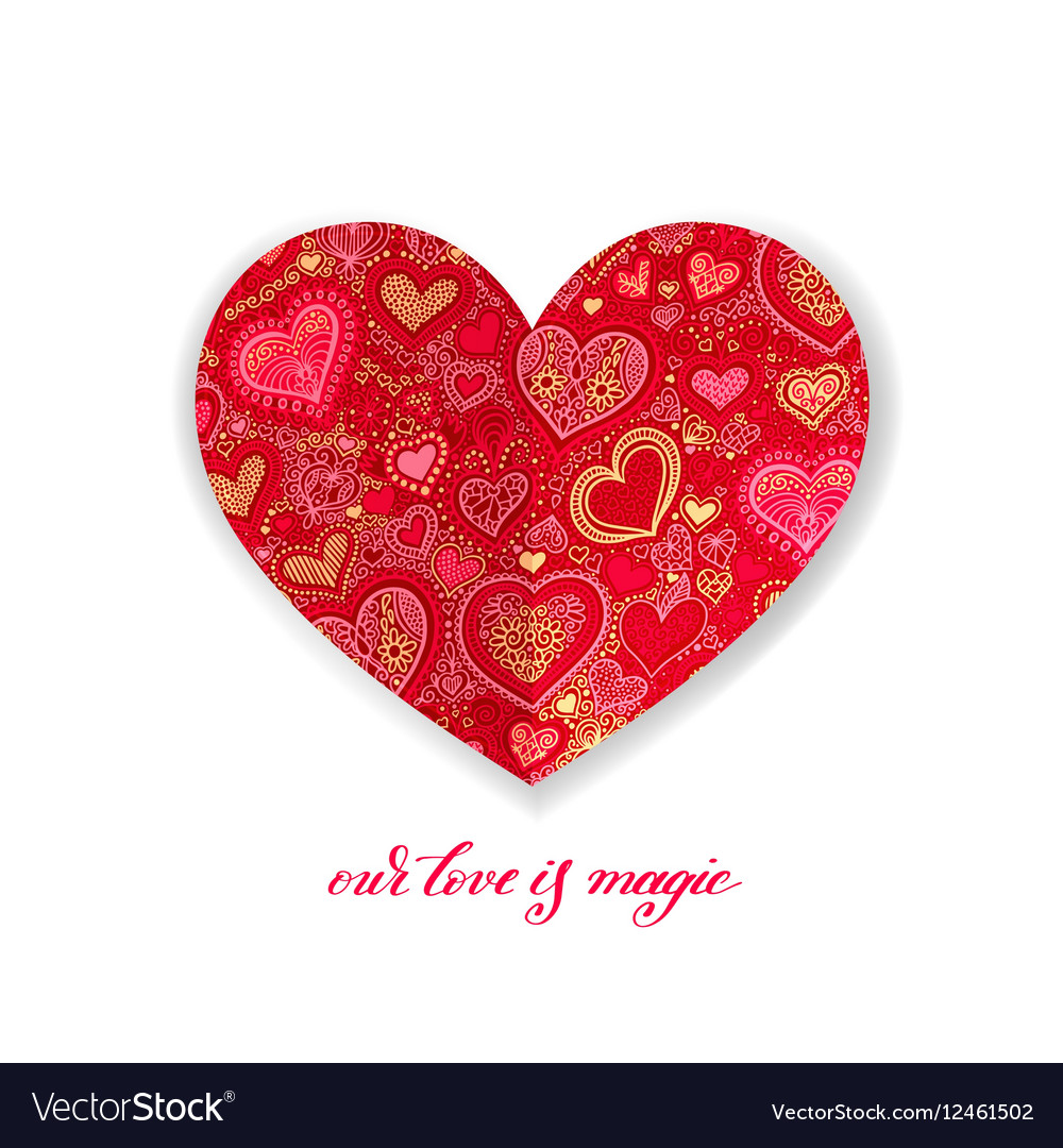 Our love is magic calligraphy design with red vector image