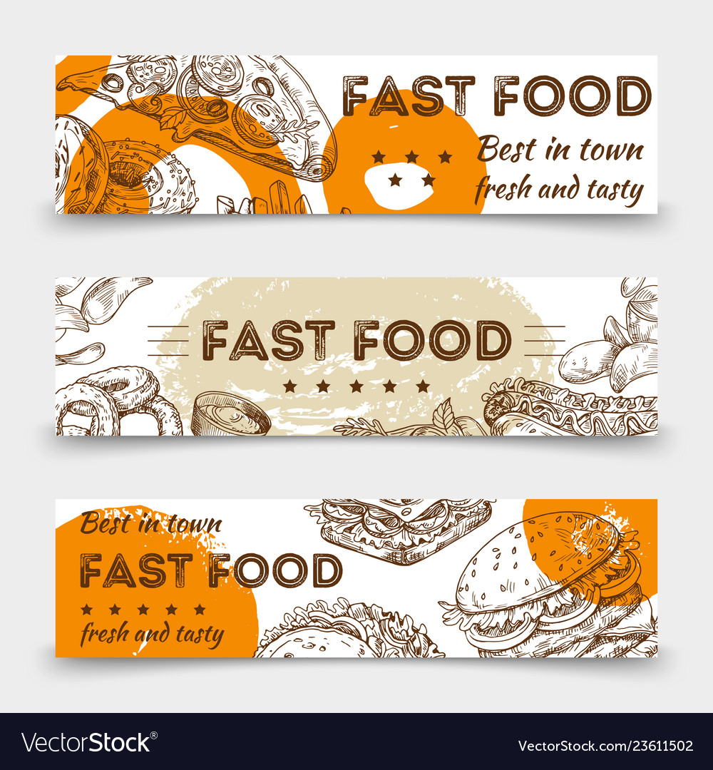 Sketched fast food banners template design
