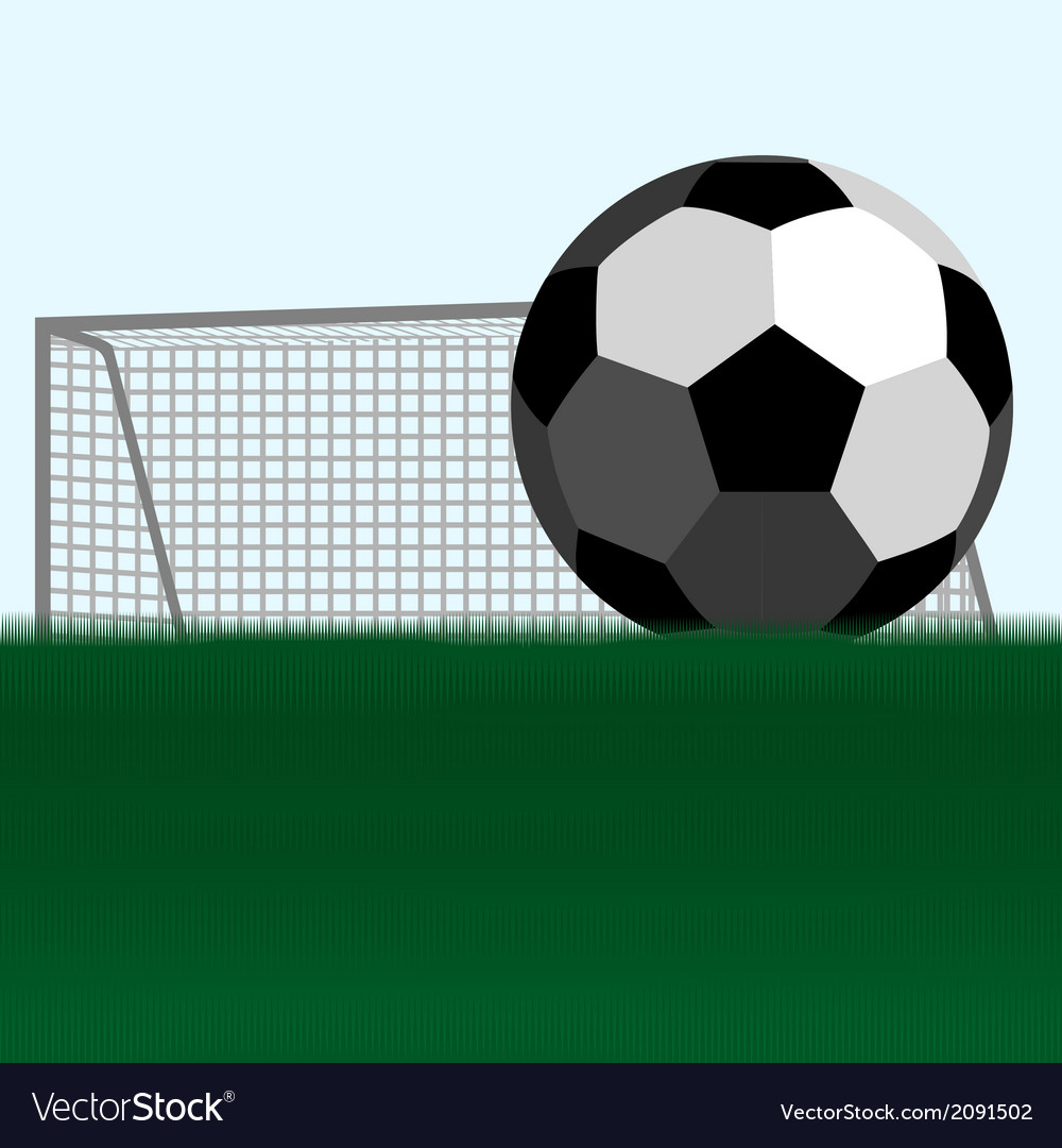 Soccer ball and football goals vector image