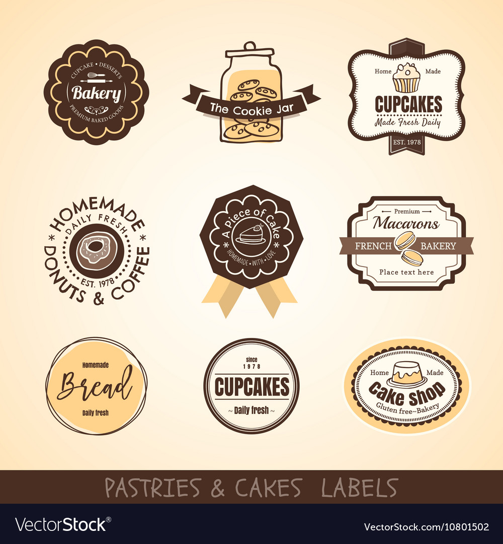 Vintage bakery logo labels and frames Royalty Free Vector