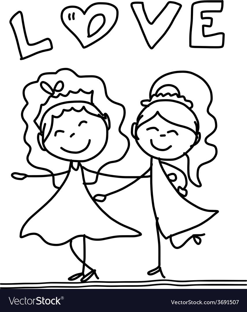Cartoon happy same sex couple wedding vector image