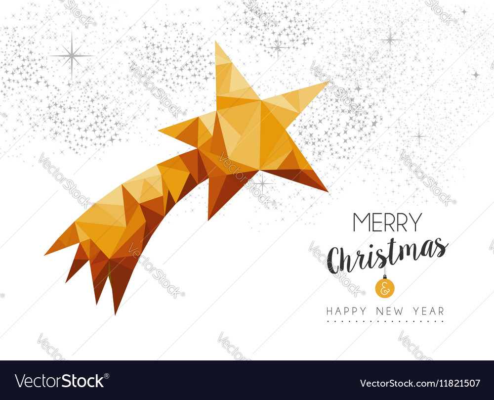 Gold Christmas new year star ornament in low poly vector image