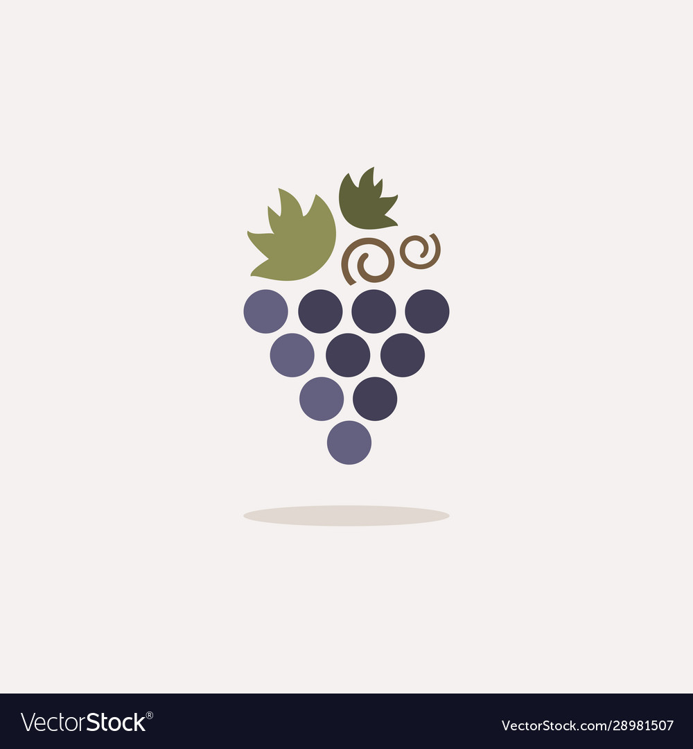 Grapes icon with shadow on a beige background