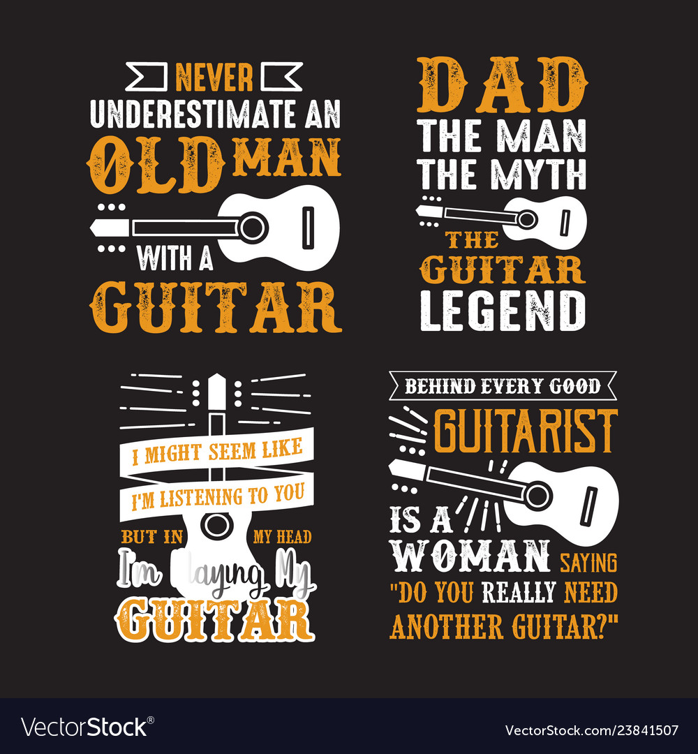 191da50a Guitar quote and saying set of guitar quote Vector Image