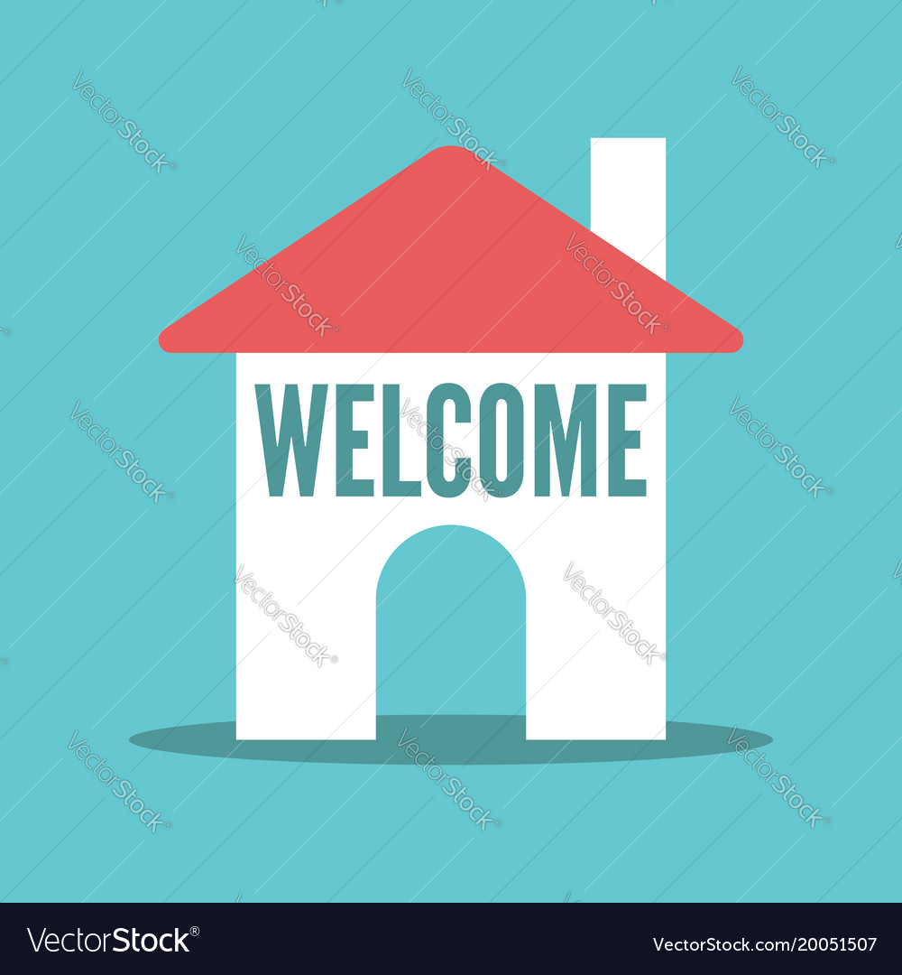 House with welcome text