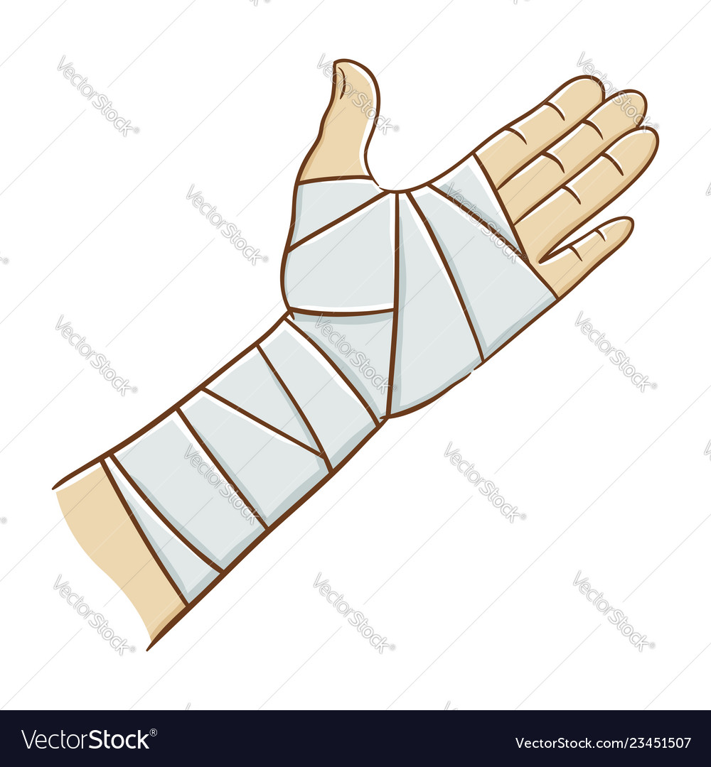 Injured Hand Wrapped In Elastic Bandage Royalty Free Vector