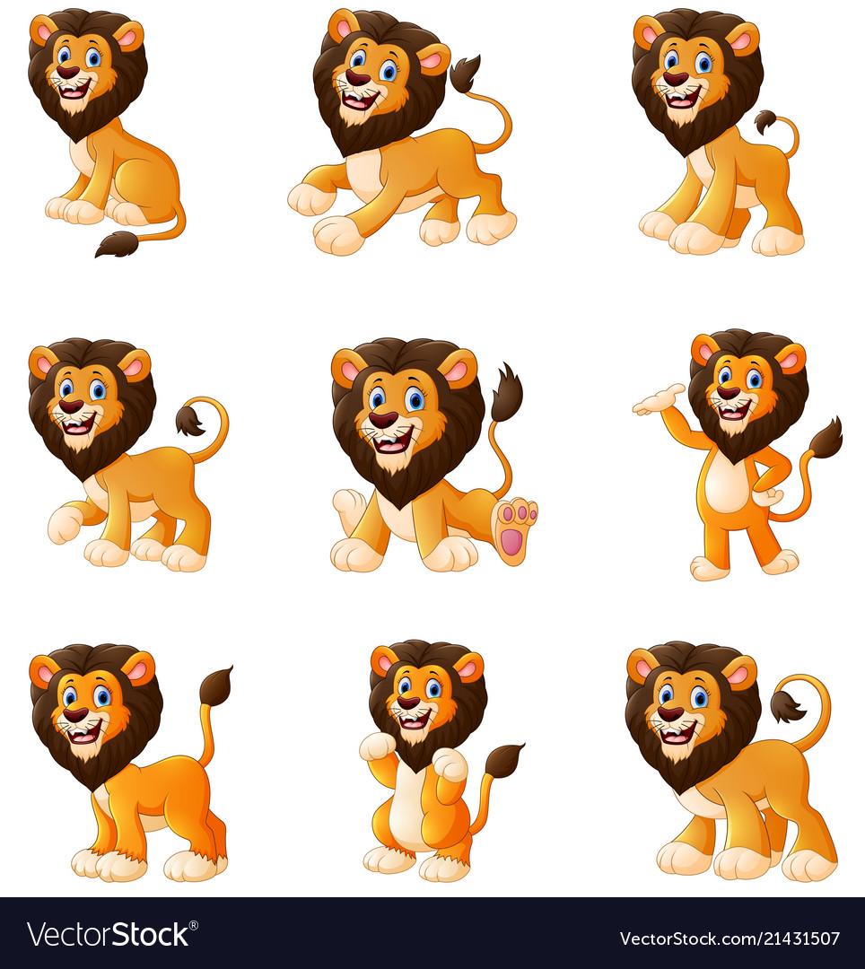 Lion cartoon set collection