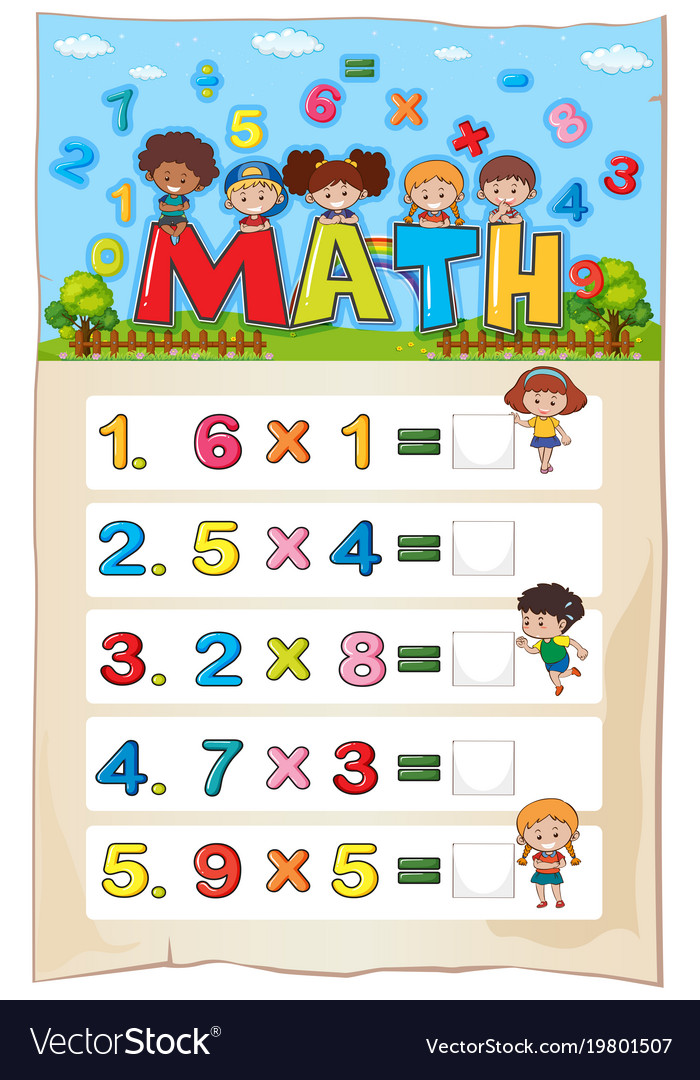 Math Worksheet Template With Kids And Royalty Free Vector