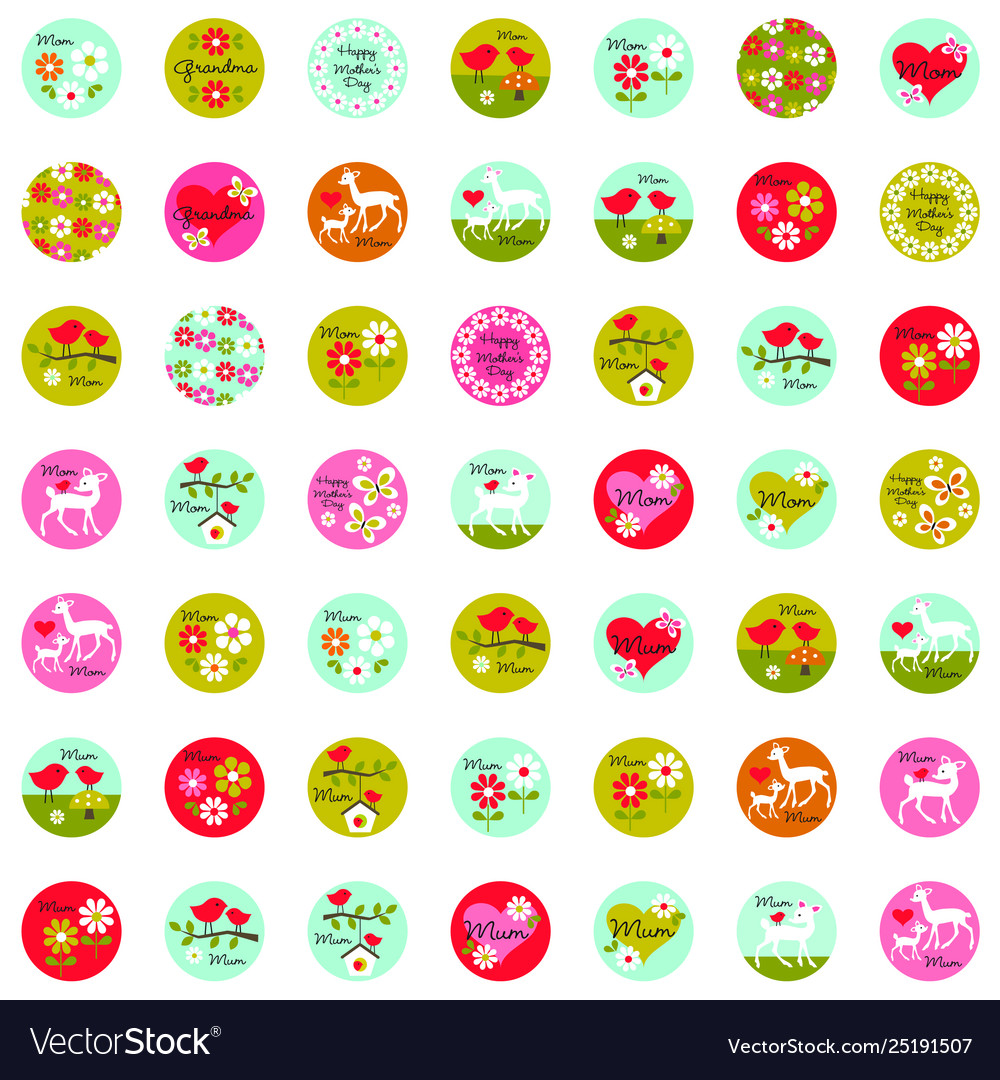 Mothers day one inch circles graphics