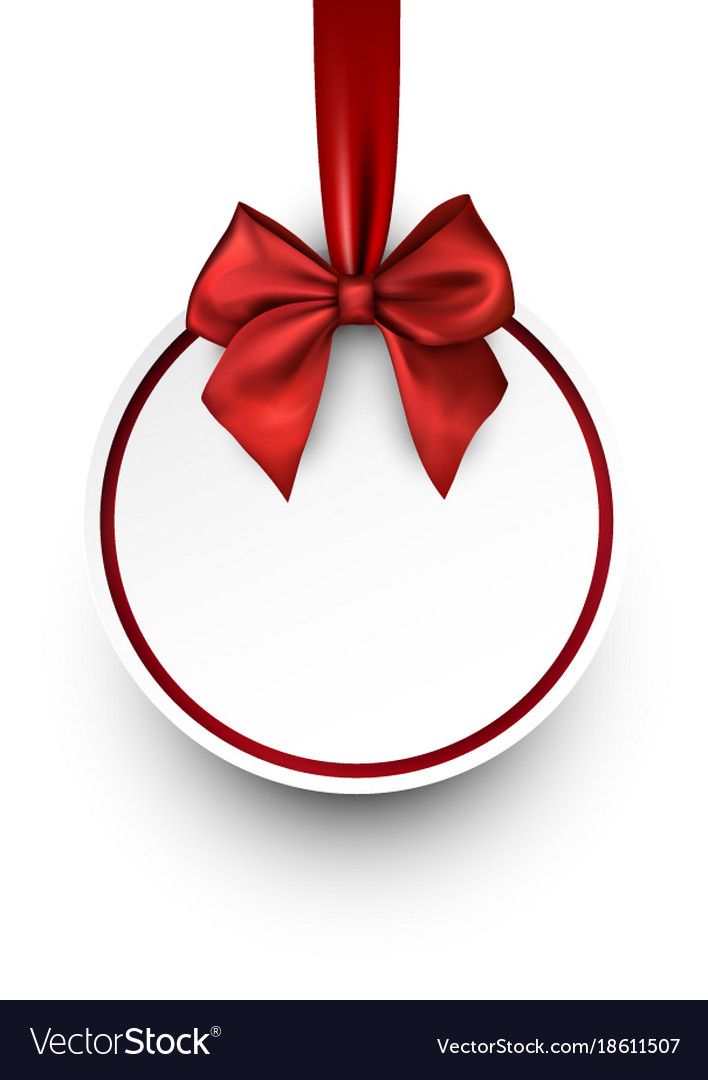 Round christmas background with red bow vector image