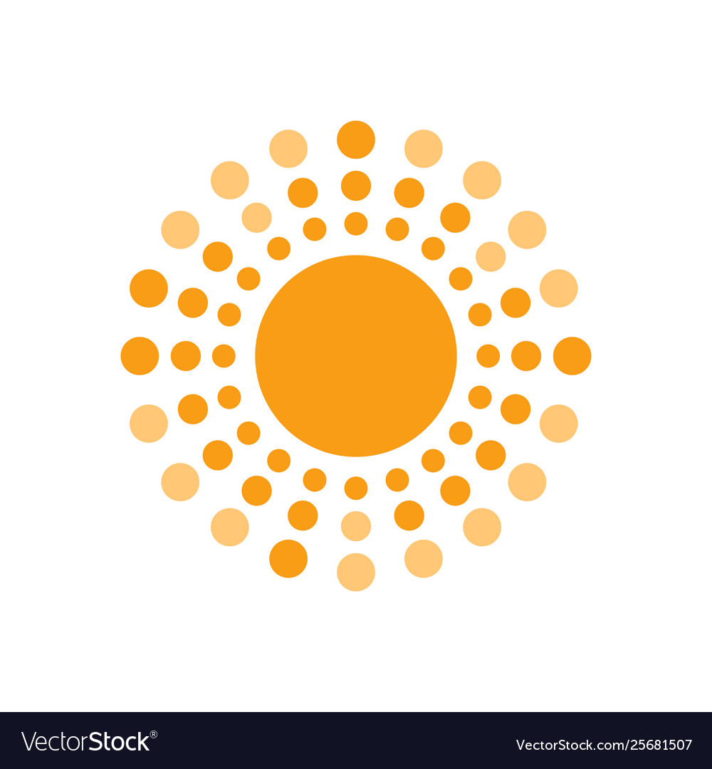 Sun with rays circles geometric design isolated