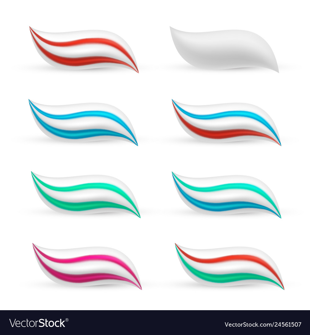 Toothpaste smear in three colours medical care